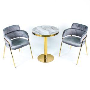 طقم طاولة وكراسي حديقة جورني - لون رمادي وذهبي