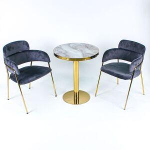 طقم طاولة وكراسي حديقة جورني - لون رمادي غامق وذهبي
