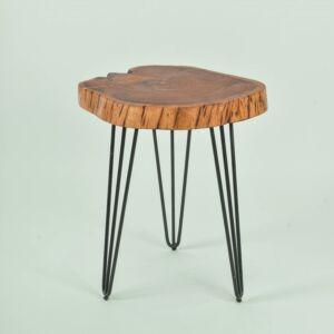 طاولة جانبية خشبية ناتيورال بحواف متعرجة - لون بني