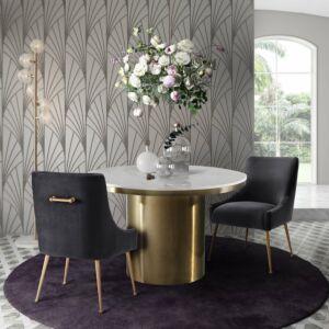 Bbeatrix grey velvet side chair