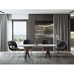 كراسي طاولة طعام Swell Dark Grey Velvet Chair