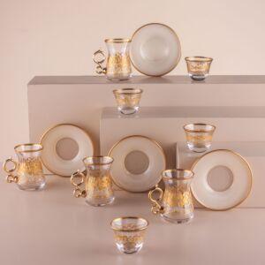 طقم فناجين قهوة عربية وبيالات جاست غولد - ل6 أشخاص - أبيض