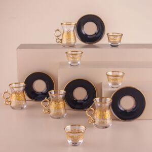 طقم فناجين قهوة عربية وبيالات جاست غولد - ل6 أشخاص - أسود