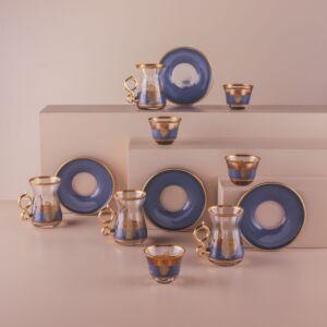 طقم فناجين قهوة عربية وبيالات شاي غولدن تايم - ل6 أشخاص - أزرق غامق