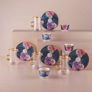 طقم فناجين قهوة عربية وبيالات شاي ايفري تايم - ل6 أشخاص
