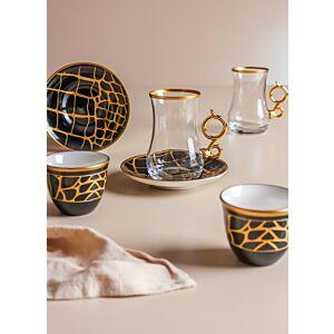 طقم شاي وقهوة ليذر ديزاين- أسود