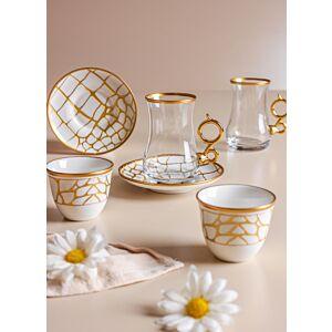 طقم شاي وقهوة ليذر ديزاين- أبيض
