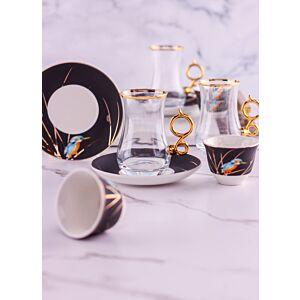 طقم فناجين قهوة عربية وبيالات شاي فينو - ل6 أشخاص - أسود