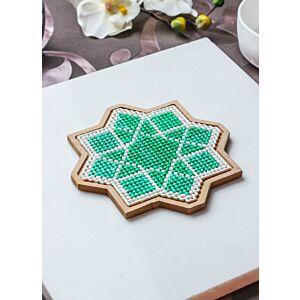 لبادة قدر الفن الإسلامي الثماني- أخضر غامق - صغير