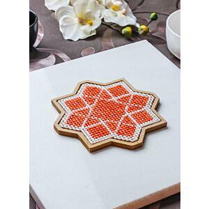 لبادة قدر الفن الإسلامي الثماني - برتقالي - صغير