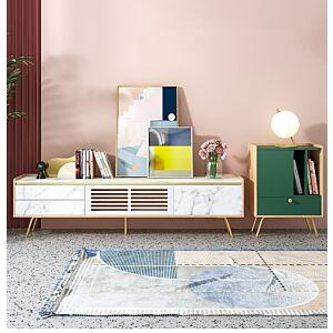 طاولة تلفاز ماربل - ابيض وخشبي