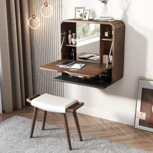 غرفة نوم مودرن , وحدة رفوف جدارية مع مرآة فانتي فخمة وعصرية