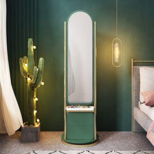 وحدة أدراج ومرآة تزيين ليزلي بلونها الأخضر لطقم غرفة نوم فخمة