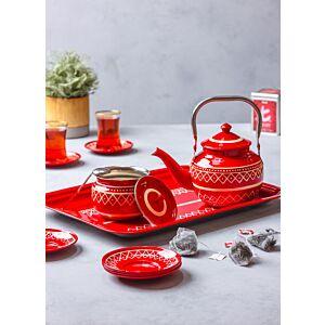 طقم براد شاي مع صينية - أحمر