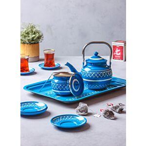طقم براد شاي مع صينية - أزرق