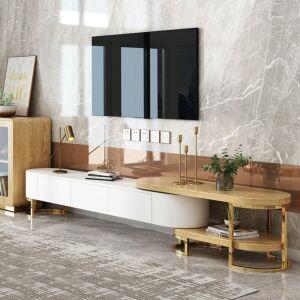 طاولة تلفاز فورم - خشبي وأبيض