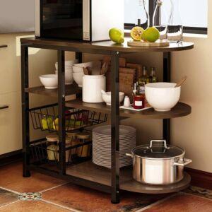 طاولة تنظيم مطبخ - بني وأسود