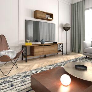 طقم طاولة تلفزيون مع وحدة رفوف جدارية هيلينا- خشبي غامق