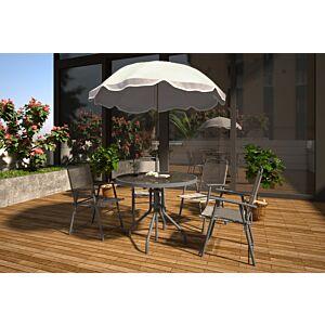 جلسة طعام خارجية - 4 كراسي مع مظلة ريكيتا- رمادي