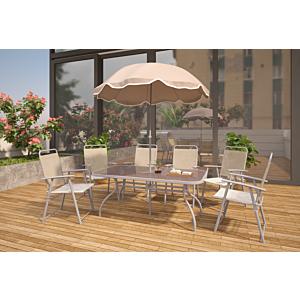 جلسة طعام خارجية -6 كراسي مع مظلة كومبو - بني فاتح