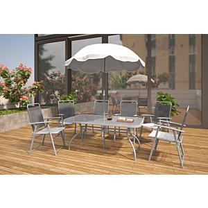 جلسة طعام خارجية - 6 كراسي مع مظلة كومبو - رمادي