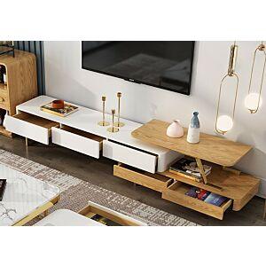 طاولة تلفاز دينزا - خشبي وأبيض