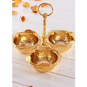 طبق تقديم ثلاثي جورني - ذهبي