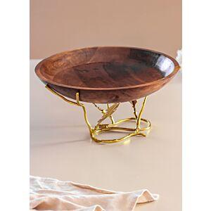 صحن تقديم دائري هندي بقاعدة ذهبية فرع شجر - بني