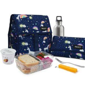 حقيبة توضيب طعام قابلة للتفريز، نقشة اليونيكورن، باك إيت