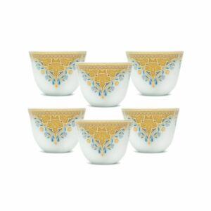طقم فناجين قهوة عربية غالف بريز- أصفر- 6 قطع من نوريتاكي Noritake