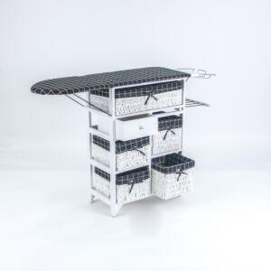 طاولة كوي مع سلال تخزين بيلينا - أبيض