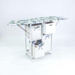 طاولة كوي مع سلال تخزين راستيك - أبيض