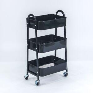 عربة مطبخ ثلاثة أدوار ترولي - أسود