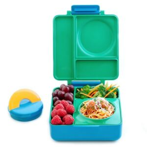 علبة طعام بينتو للأطفال أومي بوكس مع علبة معزولة، لون أخضر، أومي لايف-Omielife