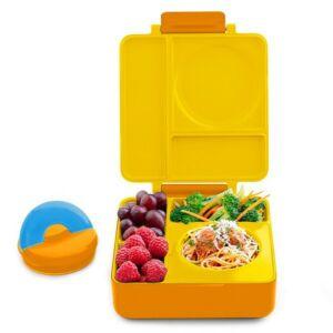 علبة طعام بينتو للأطفال أومي بوكس مع علبة معزولة، لون أصفر، أومي لايف-Omielife