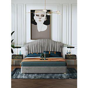 طقم غرفة نوم فخمة ، سرير مزدوج و كمدينو دونيرزمارك – رمادي