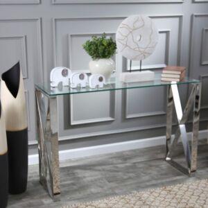 كونسول Stainless Steel & Glass Console Table,Silver Metal