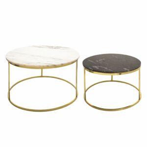 طاولات قهوة S/2 METAL/MARBLE COFFEE TABLE, GOLD