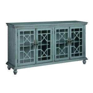 خزانة جانبية Mendenhall 4 Geometric Glass Door Textured Teal Sideboard