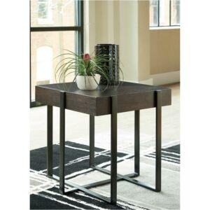 طاولة جانبية عصرية - خشب بني