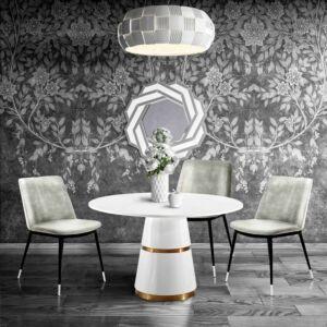 كرسي Evora Grey Velvet Chair - Silver Legs