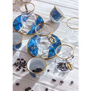 طقم قهوة وشاي سبيشال ماربل - أزرق - ل6 أشخاص