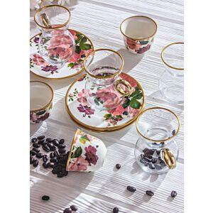 طقم قهوة وشاي روزي ستايل- ل6 أشخاص