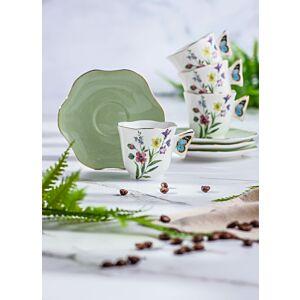طقم فناجين شاي سبرينغ فلاورز-زيتي فاتح - ل4 أشخاص