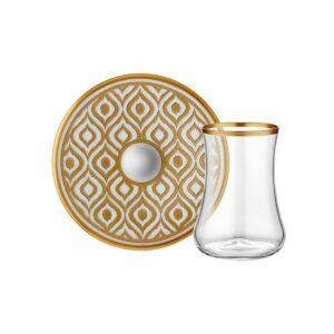 بيالات شاي زجاجيّة ايكات مع صحونها، طقم من 6 ، ذهبي، توركيش كولكشن-Turkish Collection