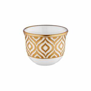 فناجين القهوة العربية ايكات، طقم من 6، ذهبي، توركيش كولكشن-Turkish Collection
