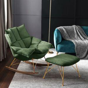 كرسي هزاز مع مسند أقدام كومودو - أخضر غامق