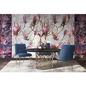 كرسي طاولة طعام Batik Ocean Blue Velvet Dining Chair