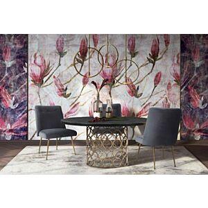 كرسي طاولة طعام Batik Grey Velvet Dining Chair