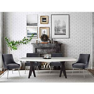 كرسي Beatrix Grey Velvet Side Chair with Silver Leg